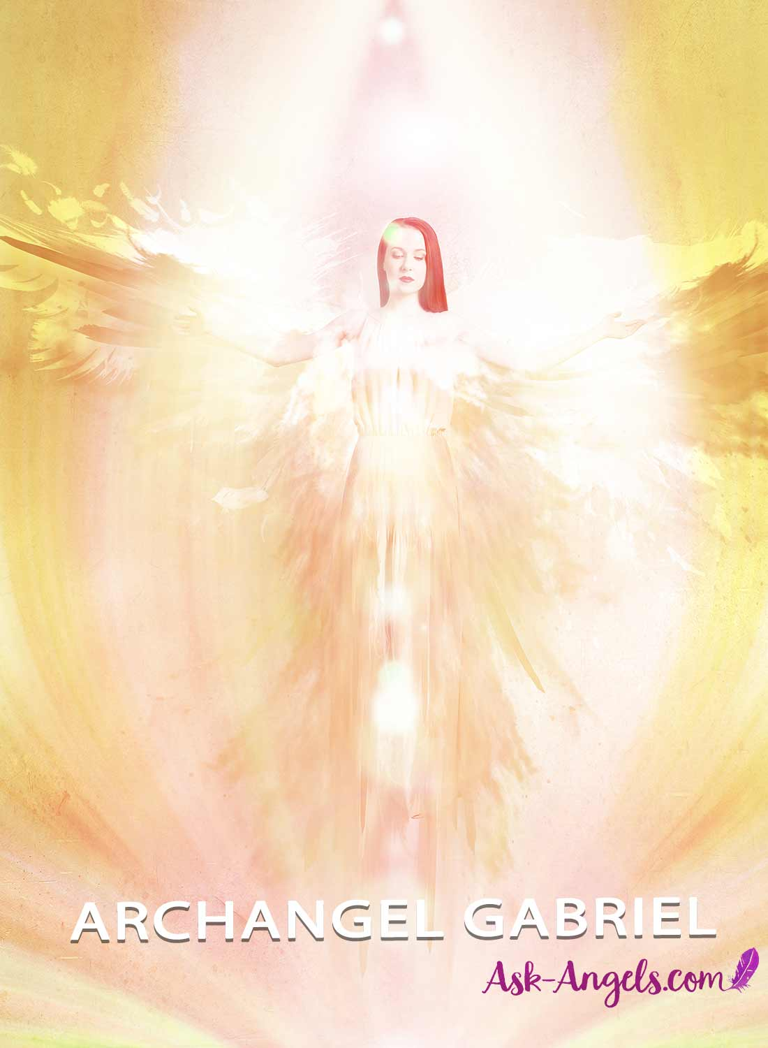 Gabriel the Archangel of Strength has a golden coppery energy and divine feminine presence of light.